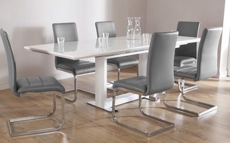 Most Current Cheap Extendable Dining Tables With Regard To Tokyo White High Gloss Extending Dining Table And 6 Chairs Set (View 9 of 20)