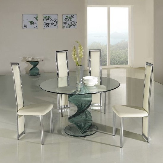 Most Current Cheap Glass Dining Tables And 4 Chairs Throughout Twirl Clear Glass Dining Table + 4 G601/d231 Dining Chairs (View 19 of 20)