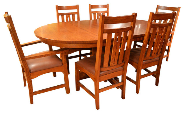 Most Current Craftsman 7 Piece Rectangle Extension Dining Sets With Arm & Side Chairs Inside Arts And Crafts Mission Oak Dining Table And 6 Mission Oak Chairs, (View 18 of 20)