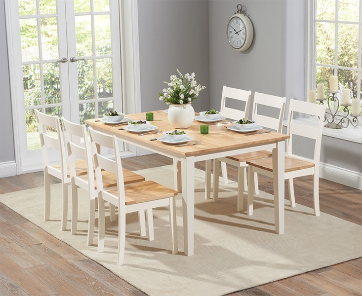 Most Current Cream Dining Tables And Chairs Within Chichester 150cm Oak & Cream Dining Table With 4 Dining Chairs (View 2 of 20)