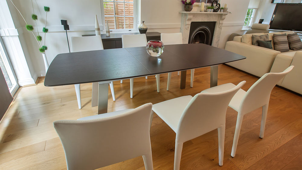 Most Current Dark Wood Dining Tables 6 Chairs Throughout Modern Extending Dark Wood Dining Table And Brightly Coloured Chairs (View 13 of 20)