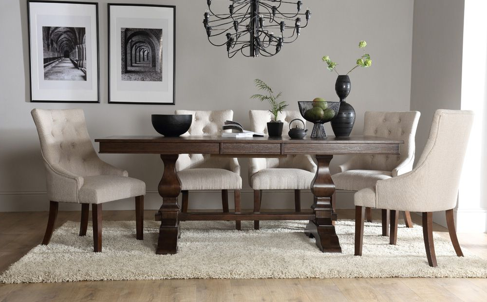 Most Current Dark Wood Extending Dining Tables With Regard To Cavendish Dark Wood Extending Dining Table With Duke Oatmeal Chairs (View 13 of 20)