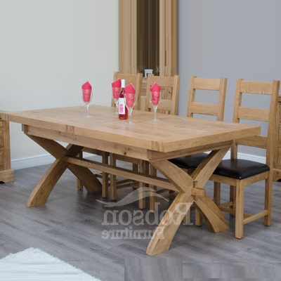 Most Current Delano Rustic Solid Oak Cross Leg Extending Dining Table With Rustic Oak Dining Tables (Gallery 6 of 20)