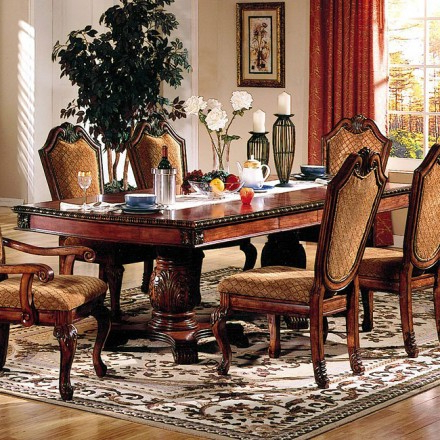 Most Current Dining Tables And Fabric Chairs Throughout Acme Chateau De Ville Dining Room Set W/ Fabric Chairs – Chateau De (View 17 of 20)