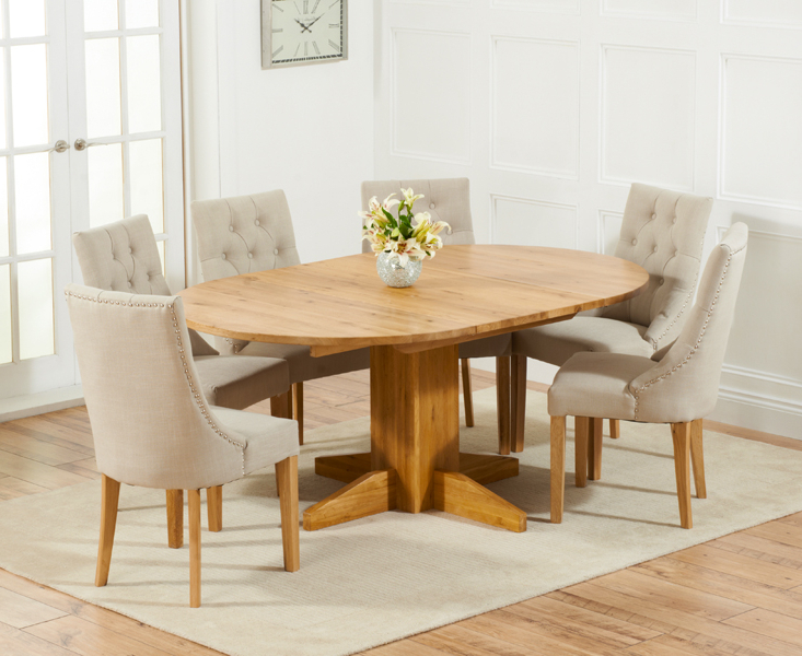 Most Current Dorchester 120cm Solid Oak Round Extending Dining Table With Pacific With Regard To Oak Dining Tables And Fabric Chairs (View 8 of 20)
