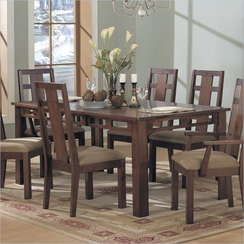 Most Current Enchantment Rectangular Casual Dining Table In Rich Cappuccino Inside Dining Tables With Large Legs (View 11 of 20)