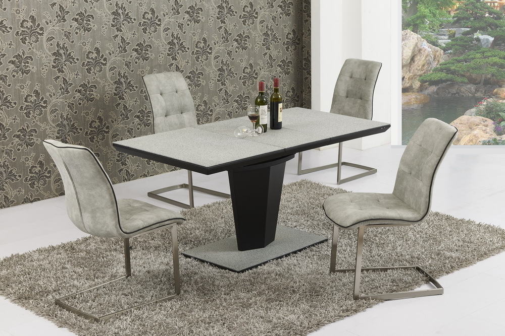 Most Current Extendable Dining Table And 6 Chairs Pertaining To Small Extending Grey Stone Effect Glass Dining Table And 6 Chairs (View 14 of 20)