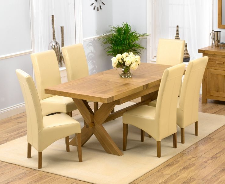 Most Current Extendable Dining Tables And 6 Chairs Inside Chunky Solid Oak Dining Table And 6 Chairs – Go To (View 16 of 20)