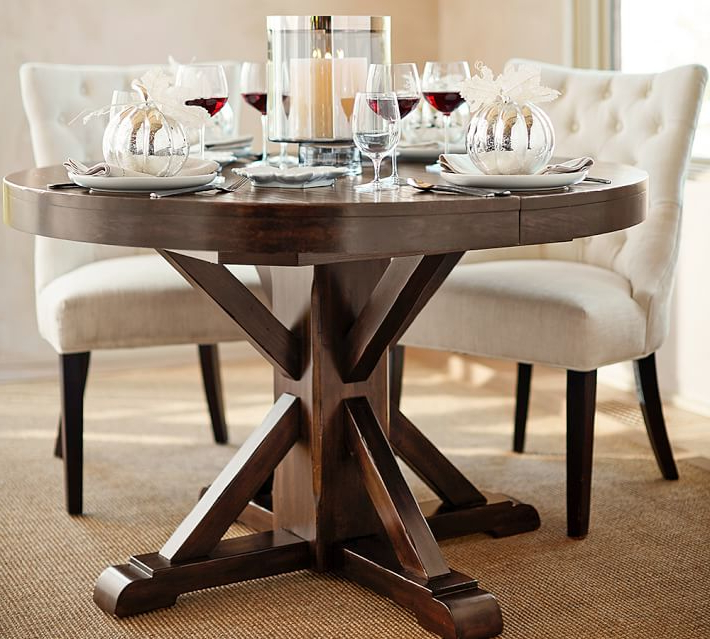 Most Current Extended Round Dining Tables Pertaining To Benchwright Extending Pedestal Dining Table Alfresco Brown Within (View 10 of 20)