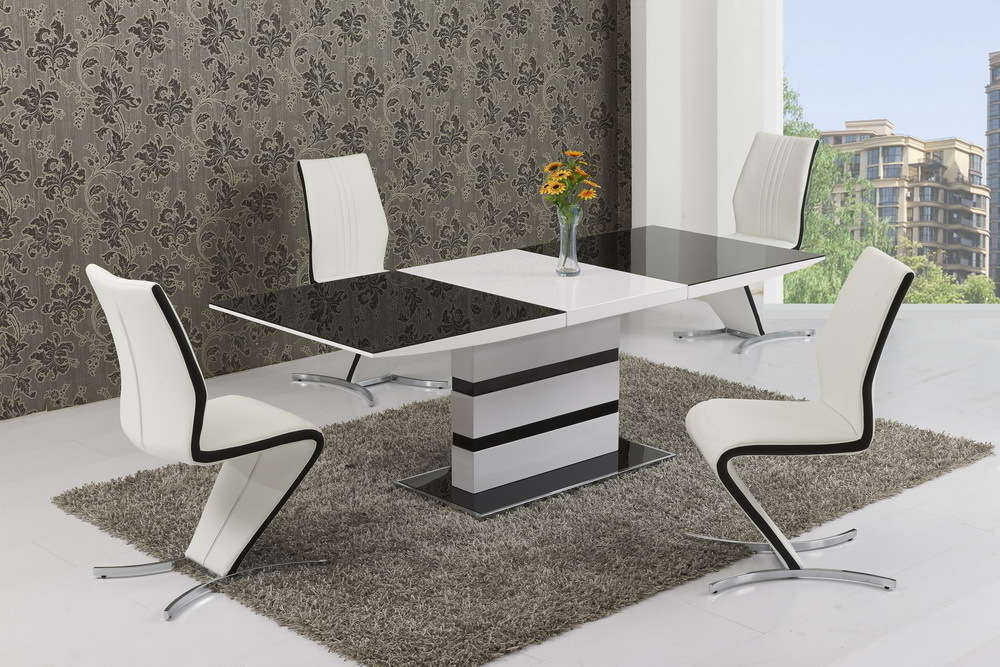 Most Current Extending Glass Dining Tables And 8 Chairs Within Black Glass White High Gloss Extendable Dining Table And 8 Chairs (View 13 of 20)
