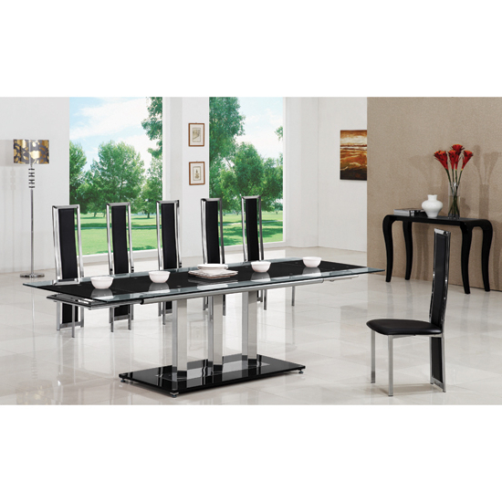 Most Current Extending Glass Dining Tables And 8 Chairs Within Tripod Black Extending Glass Dining Table And 8 G601 Chairs (View 14 of 20)