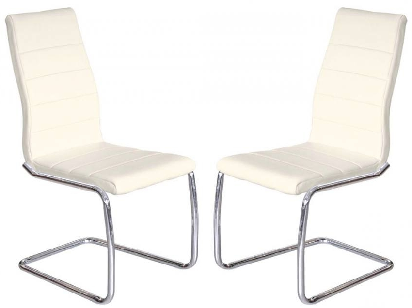 Most Current Febland – Svenska Steel Chrome Frame Dining Chairs – Cream Faux Regarding Chrome Dining Chairs (View 14 of 20)
