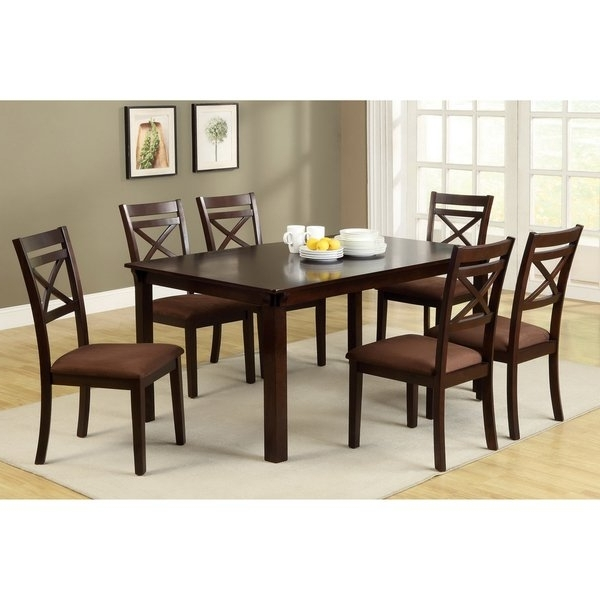 Most Current Furniture Of America Dietric Espresso Finish 7 Piece Dining Set Inside Caden 6 Piece Rectangle Dining Sets (View 11 of 20)
