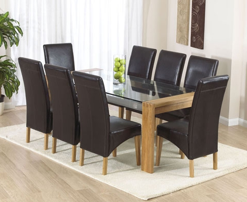 Most Current Glass And Oak Dining Tables And Chairs Intended For Extraordinary Ideas Glass Table And Leather Chairs Oak Dining (View 3 of 20)