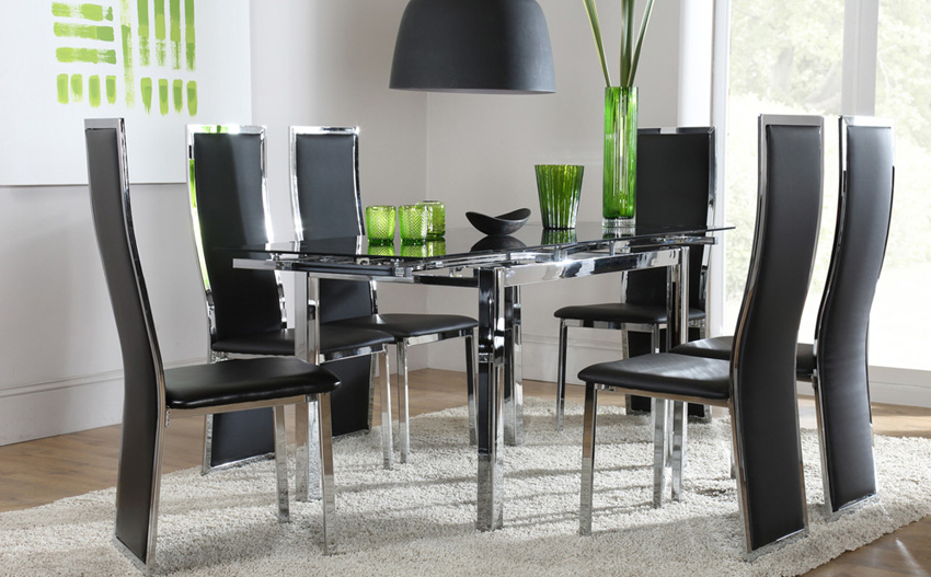 Most Current Glass Dining Tables With 6 Chairs Throughout Dining Room: Best Glass Dining Room Sets Glass Top Dinette Sets (View 7 of 20)