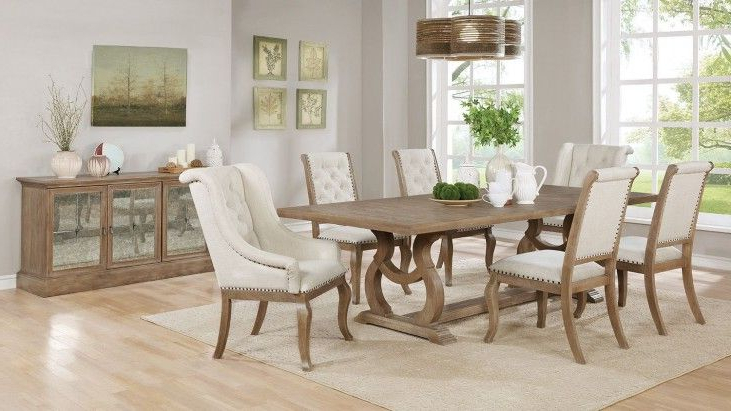 Most Current Glen Cove Weathered Extendable Rectangular Dining Room Setscott Throughout Craftsman 7 Piece Rectangle Extension Dining Sets With Arm & Side Chairs (View 17 of 20)