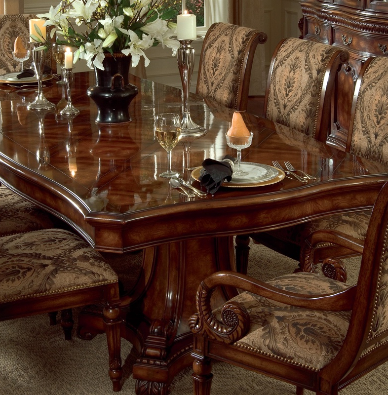 Most Current Grandeur 7 Piece Double Pedestal Dining Table Set In Cherry Ash Burl Inside Parquet 7 Piece Dining Sets (View 17 of 20)