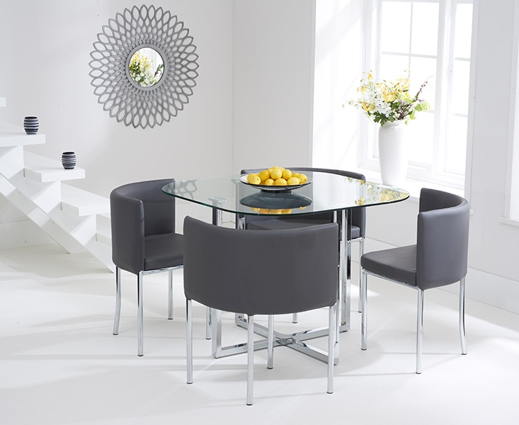 Most Current Grey Glass Dining Tables Within Ascot Stowaway Glass Dining Set With 4 Grey Chairs (View 18 of 20)