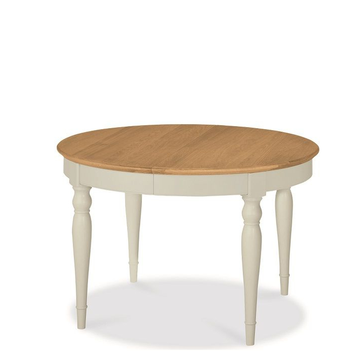 Most Current Hampstead Soft Grey And Oak Small Round Extending Dining Table With Round Extendable Dining Tables (View 7 of 20)