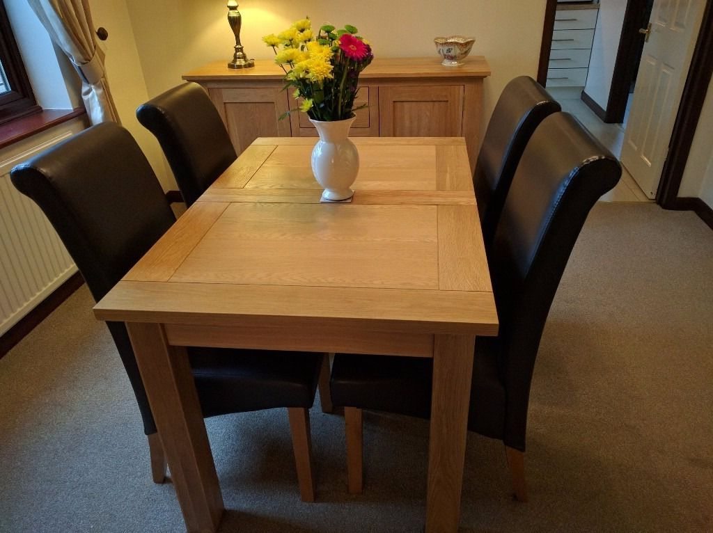 Most Current Harvey Solid Oak Small Leaf Extending Dining Table – 120cm To153cm X Pertaining To Harvey Dining Tables (View 4 of 20)