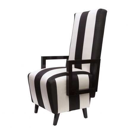 Most Current High Back Dining Chairs With Regard To Highback Dining Chairs In Black & White Striped Silk, Pair – Sasha (Gallery 18 of 20)