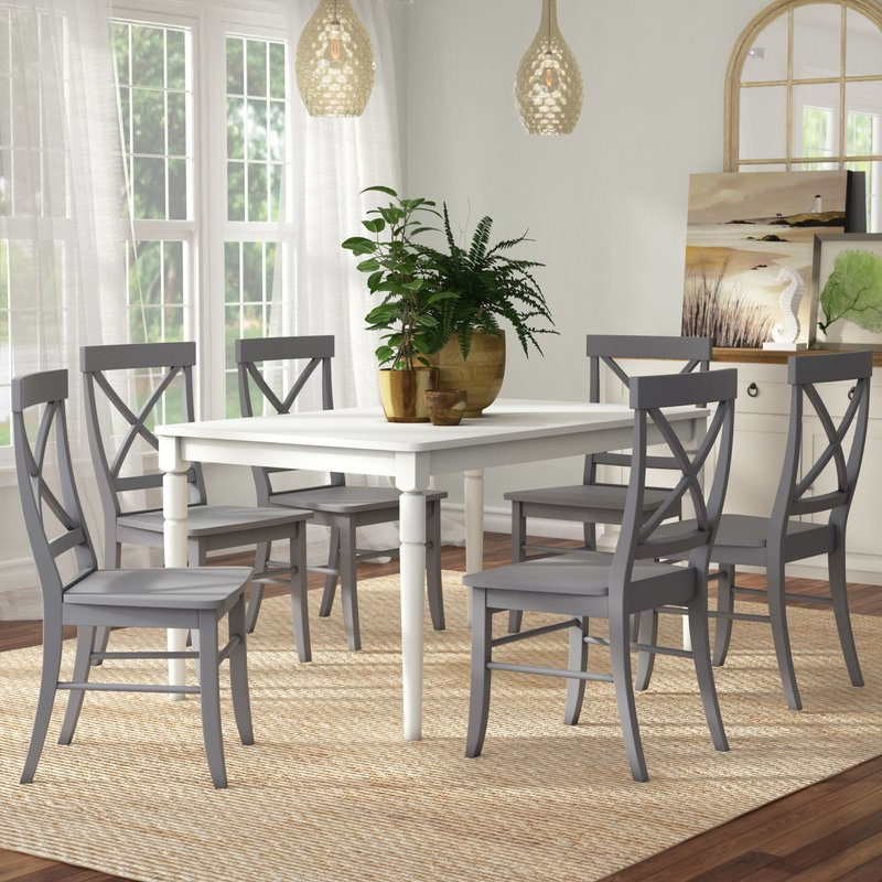 Most Current Laurent 7 Piece Rectangle Dining Sets With Wood Chairs Intended For Beachcrest Home Brookwood 7 Piece Dining Set & Reviews (View 15 of 20)