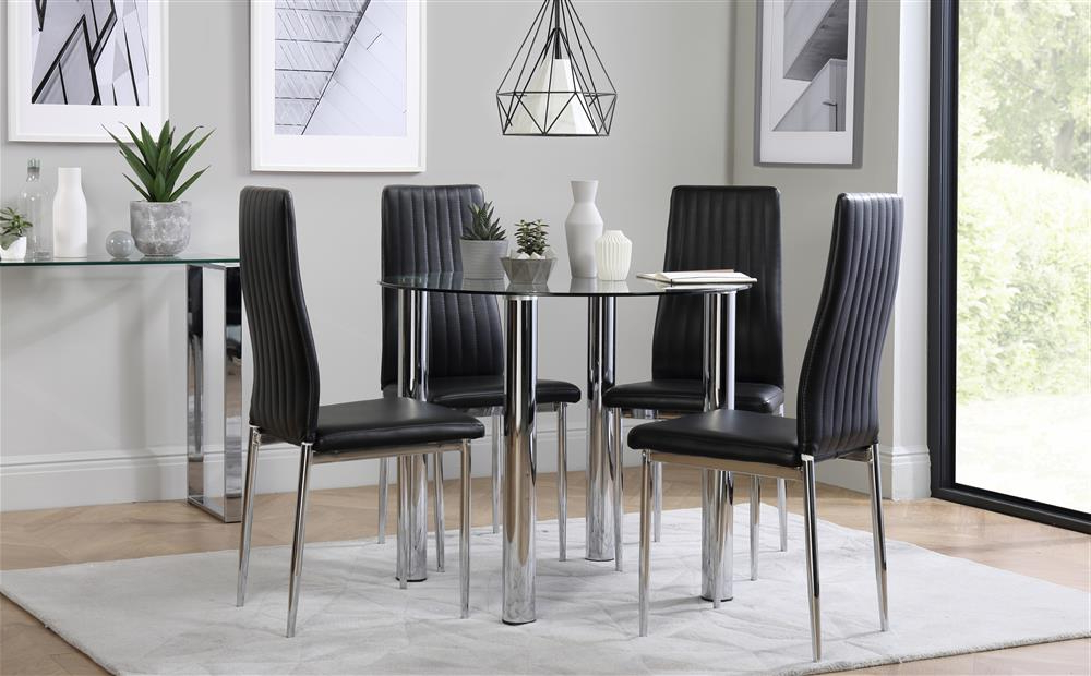 Most Current Leon Dining Tables Regarding Solar Round Chrome And Glass Dining Table With 4 Leon Black Chairs (View 8 of 20)