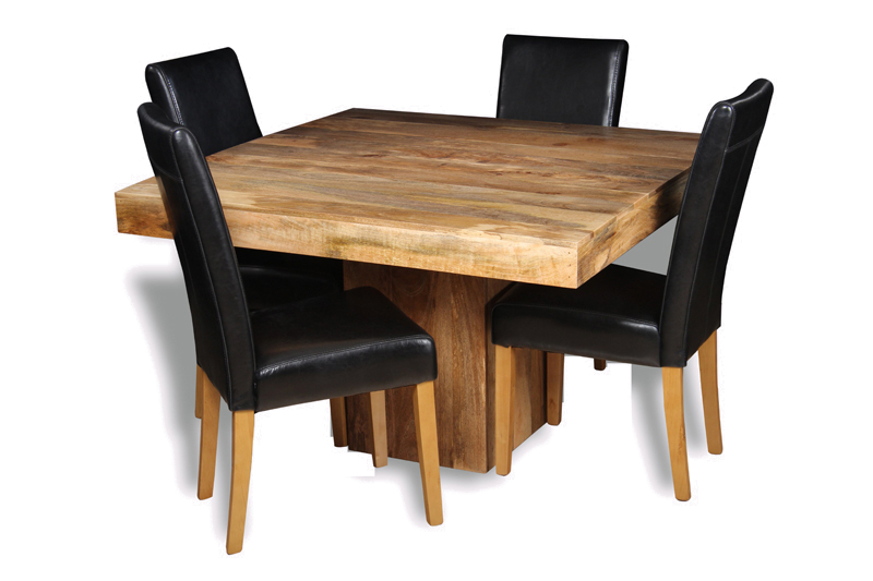 Most Current Light Mango 120cm Cube Dining Table & 4 Black Leather Chairs Throughout Cube Dining Tables (View 11 of 20)