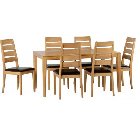 Most Current Logan 1+6 Dining Set In Oak Varnish/brown Faux Leather – Adams Pertaining To Logan 6 Piece Dining Sets (View 13 of 20)
