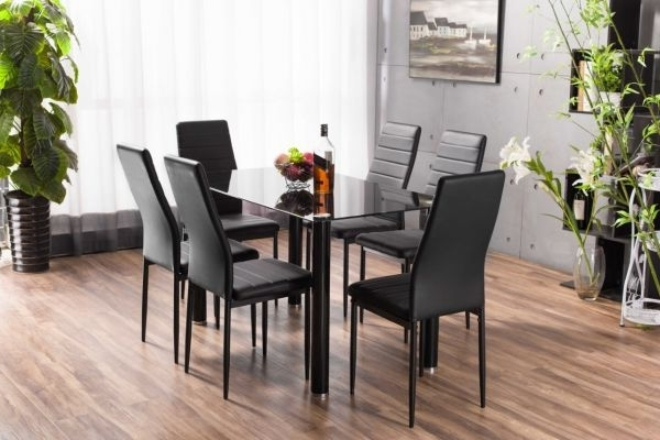 Most Current Lunar Rectangle Glass Dining Table & 6 Chairs Set (View 7 of 20)