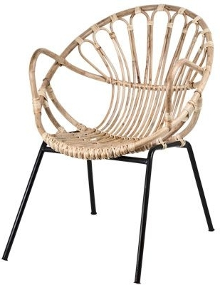 Most Current Magnolia Home Entwine Rattan Arm Chairs Within Rattan Chair With Black Metal Legs (View 11 of 20)