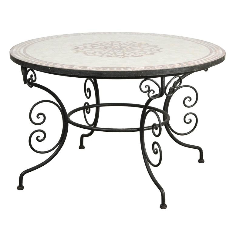 Most Current Mosaic Dining Tables For Sale Intended For Moroccan Outdoor Round Mosaic Tile Dining Table On Iron Base 47 In (View 19 of 20)