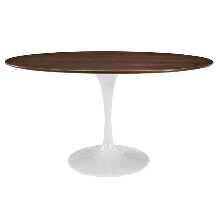 "Most Current Nora Dining Tables Intended For Nora Oval Shaped 60"" Walnut Modern Round Dining Table (View 5 of 20)"