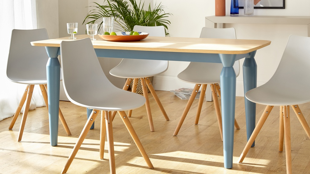 Most Current Oak 6 Seater Dining Tables With 6 Seater Oak And Powder Blue Dining Table (View 9 of 20)