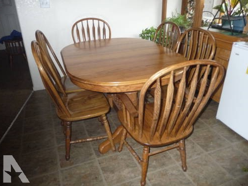 Most Current Oak Dining Set 6 Chairs Pertaining To Oak Dining Table – Richardson Brothers 6 Chairs / 2 Leaf Extenders (Gallery 11 of 20)