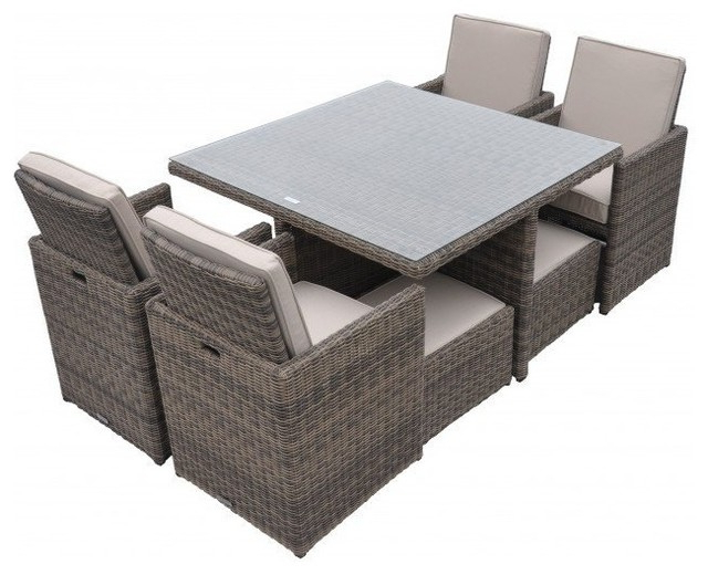 Most Current Rattan Cushioned Garden Patio Furniture Outdoor Dining Table Cube Regarding Cube Dining Tables (View 14 of 20)