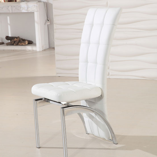Most Current Ravenna White Faux Leather Dining Room Chair 19495 For White Leather Dining Chairs (View 7 of 20)