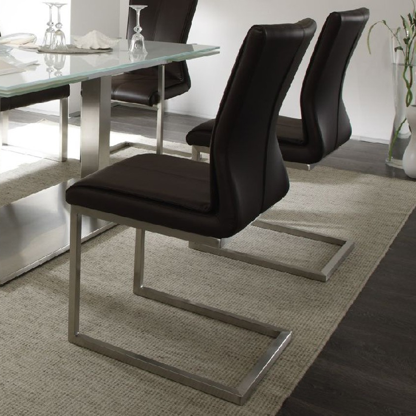 Most Current Real Leather Dining Chairs Regarding Sara Real Leather Dining Chair (View 7 of 20)