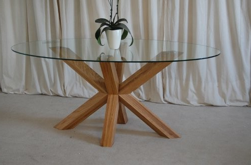 Most Current Round Glass And Oak Dining Tables For Venice 4ft6 Round Glass And Oak Dining Table (Gallery 4 of 20)