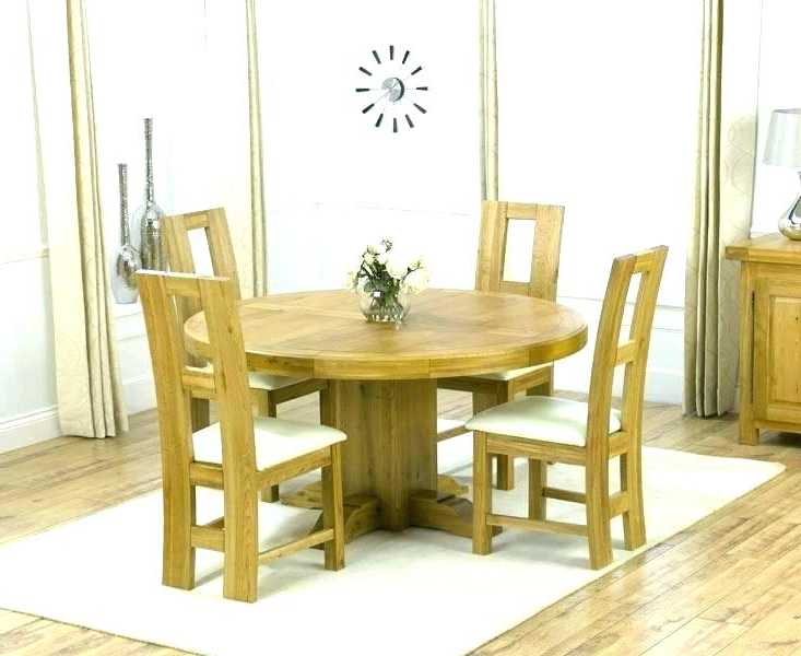 Most Current Round Oak Dining Table And 4 Chairs White Set Solid Wood For Round Oak Dining Tables And 4 Chairs (View 9 of 20)