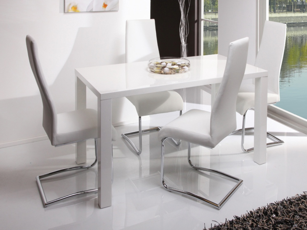 Most Current Shiny White Dining Tables Regarding  (View 10 of 20)