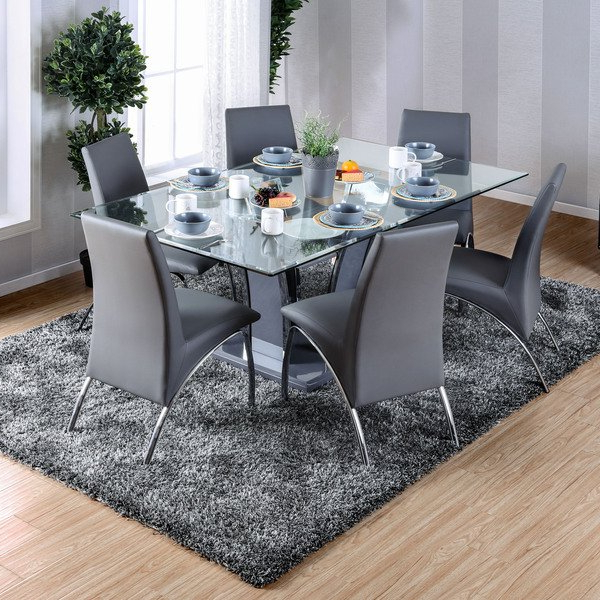 Most Current Shop Furniture Of America Ziana Contemporary Rectangular Tempered With Glasses Dining Tables (View 20 of 20)