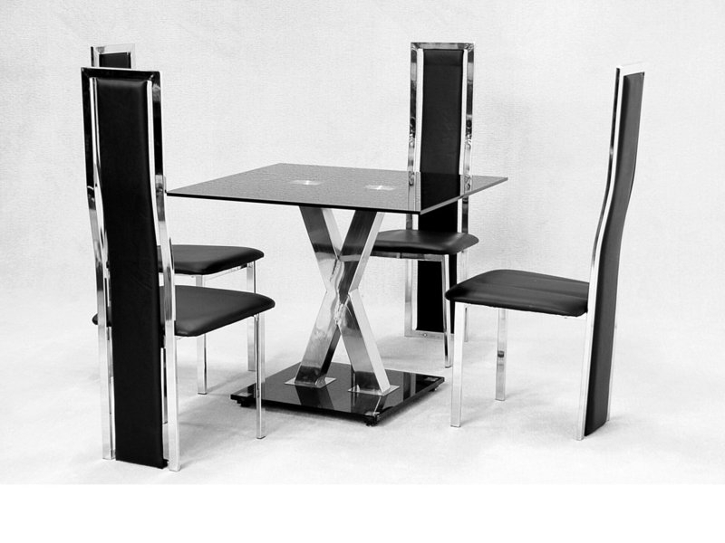 Most Current Square Glass Dining Table X Chrome And 4 Faux Chairs – Homegenies With Square Black Glass Dining Tables (Gallery 1 of 20)