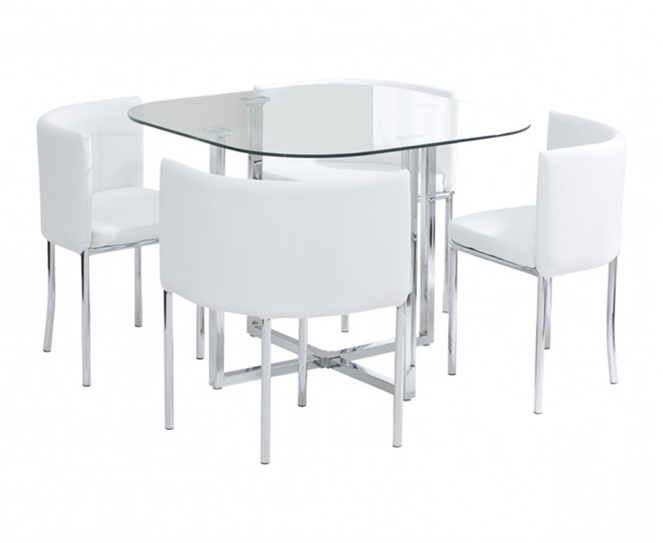 Most Current Stowaway Dining Tables And Chairs Regarding Algarve Glass Stowaway Dining Table With White High Back Oval Dining (View 7 of 20)