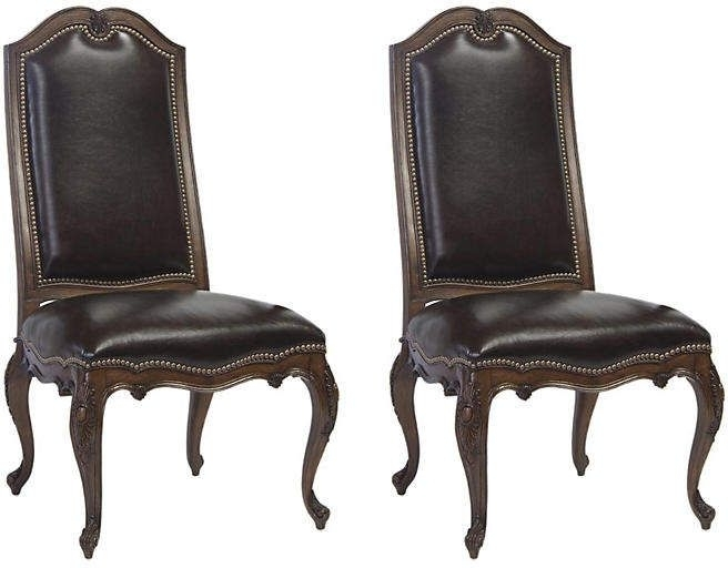 Most Current Wenge Leyland Leather Side Chairs – Set Of 2 – Belle Meade (View 15 of 20)