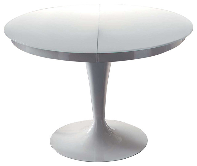 Most Current White Circular Dining Tables Within Elise Circular Dining Extendable Table – Midcentury – Dining Tables (View 7 of 20)