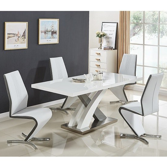 Most Current White Gloss Dining Chairs For Axara Extendable Dining Set Small White Grey Gloss 4 Gia (View 8 of 20)
