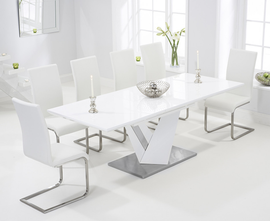 Most Current White Gloss Extendable Dining Tables Regarding Harmony 160Cm White High Gloss Extending Dining Table With Malaga (Gallery 14 of 20)