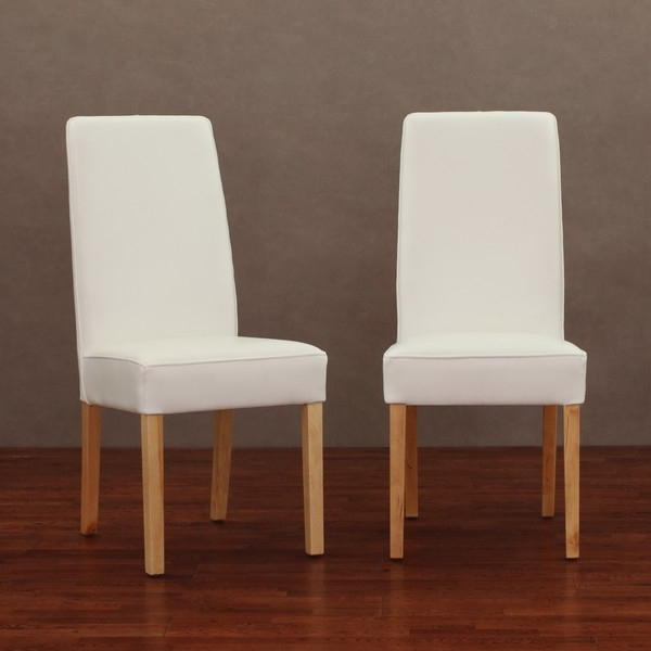 Most Current White Leather Dining Chairs Throughout White Leather Chairs Modern Dining Chair Set Of 2 — The Home (View 8 of 20)