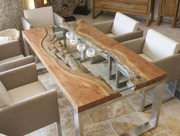 Most Current Wooden Glass Dining Tables Pertaining To Wood Slab Dining Table Designs Glass Wood Metal Modern Dining Room (View 9 of 20)